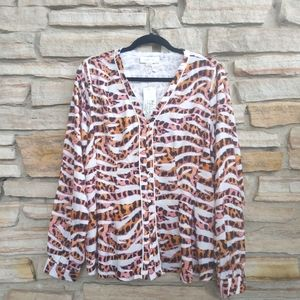 NWT Lost Ink Zebra Pink Silky Buttom Blouse